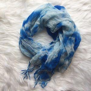 Blue Tie Dye Print Scarf